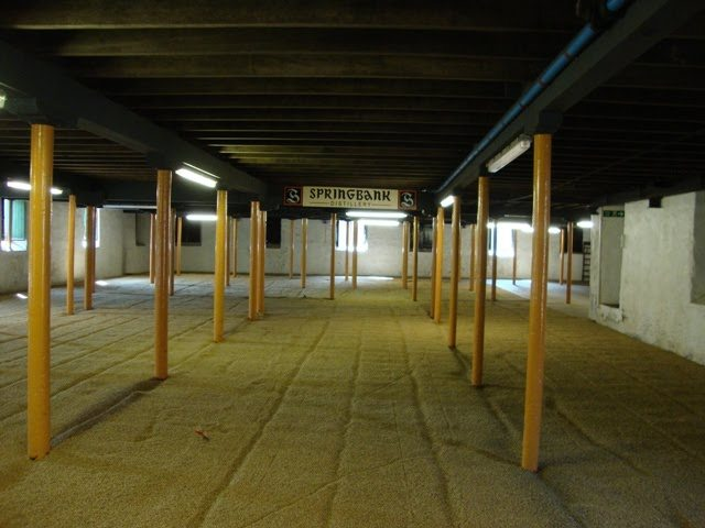 The malting floor at Springbank Distillery in Scotland. Photo courtesy Whiskey Story