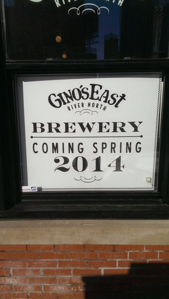Gino's East Brewery Sign