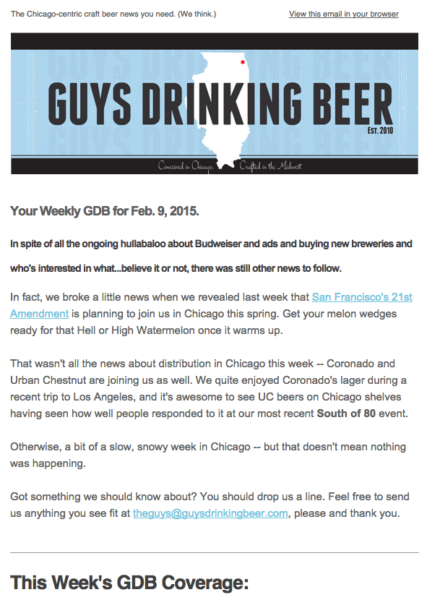 Chicago craft beer news email screenshot