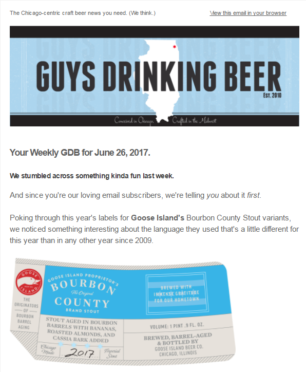 Chicagoland craft beer news email