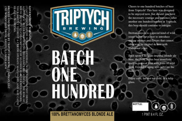Triptych Batch One Hundred Brettanomyces Blonde Ale Label