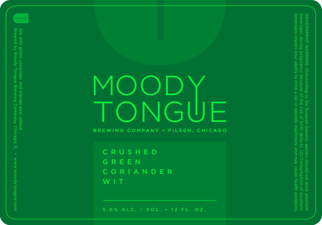 Moody Tongue Crushed Green Coriander Wit Label