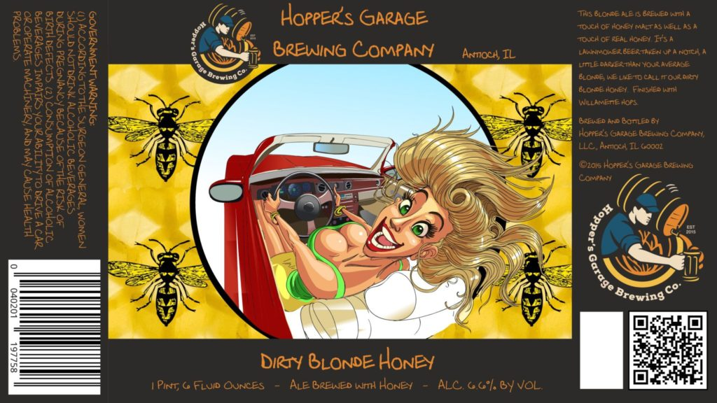Hoppers Garage Brewing Company Dirty Blonde Honey Label