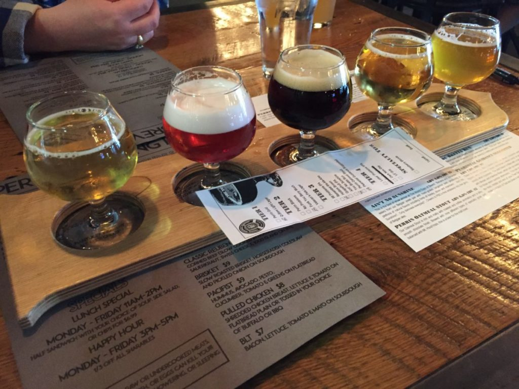 perrin brewing taproom flight